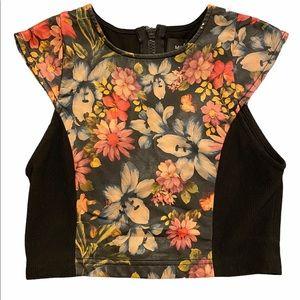 Mink Pink Black Floral Flower Leather Crop Top